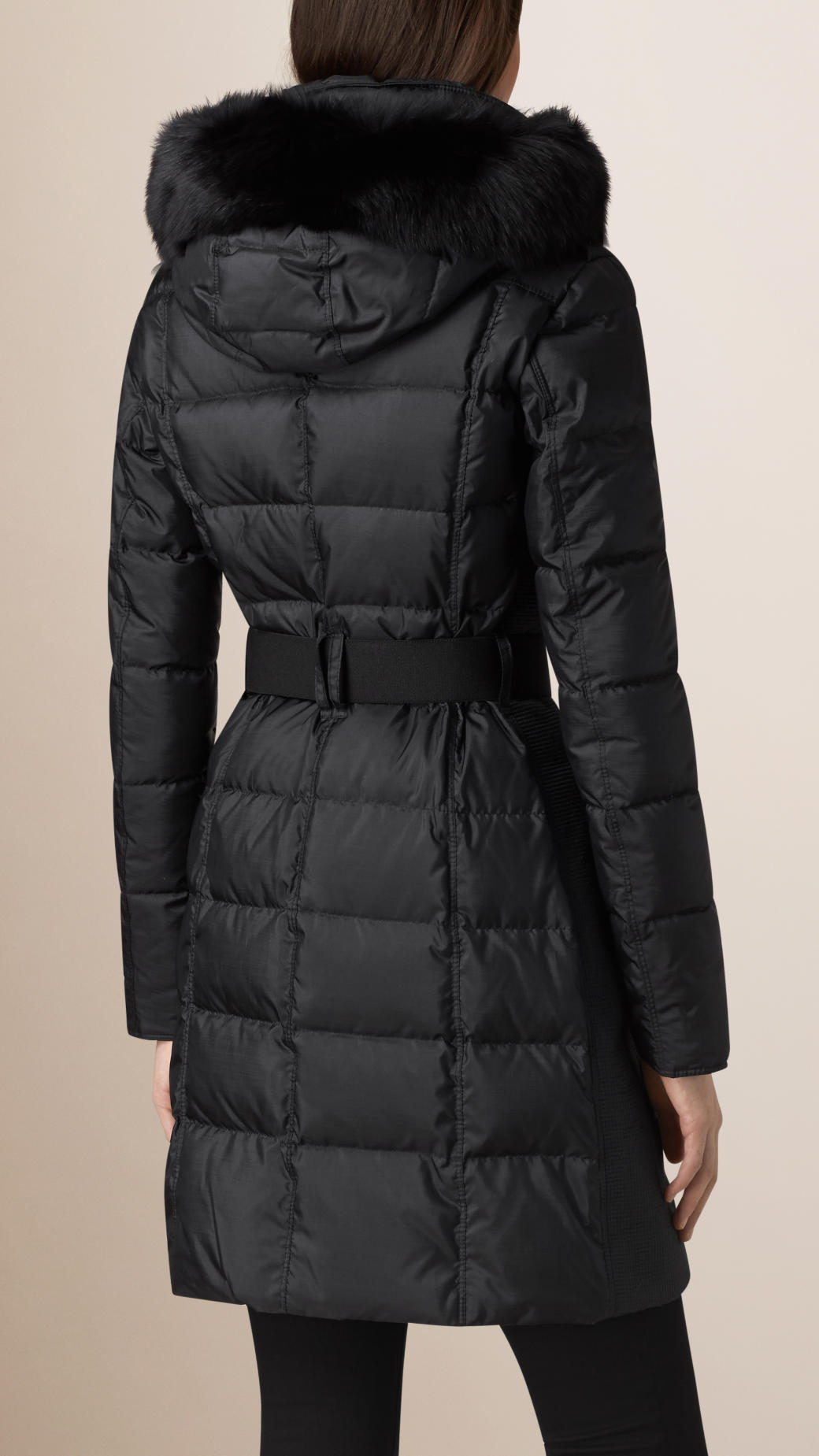 Burberry Fur Trim Puffer Coat In Black Lyst