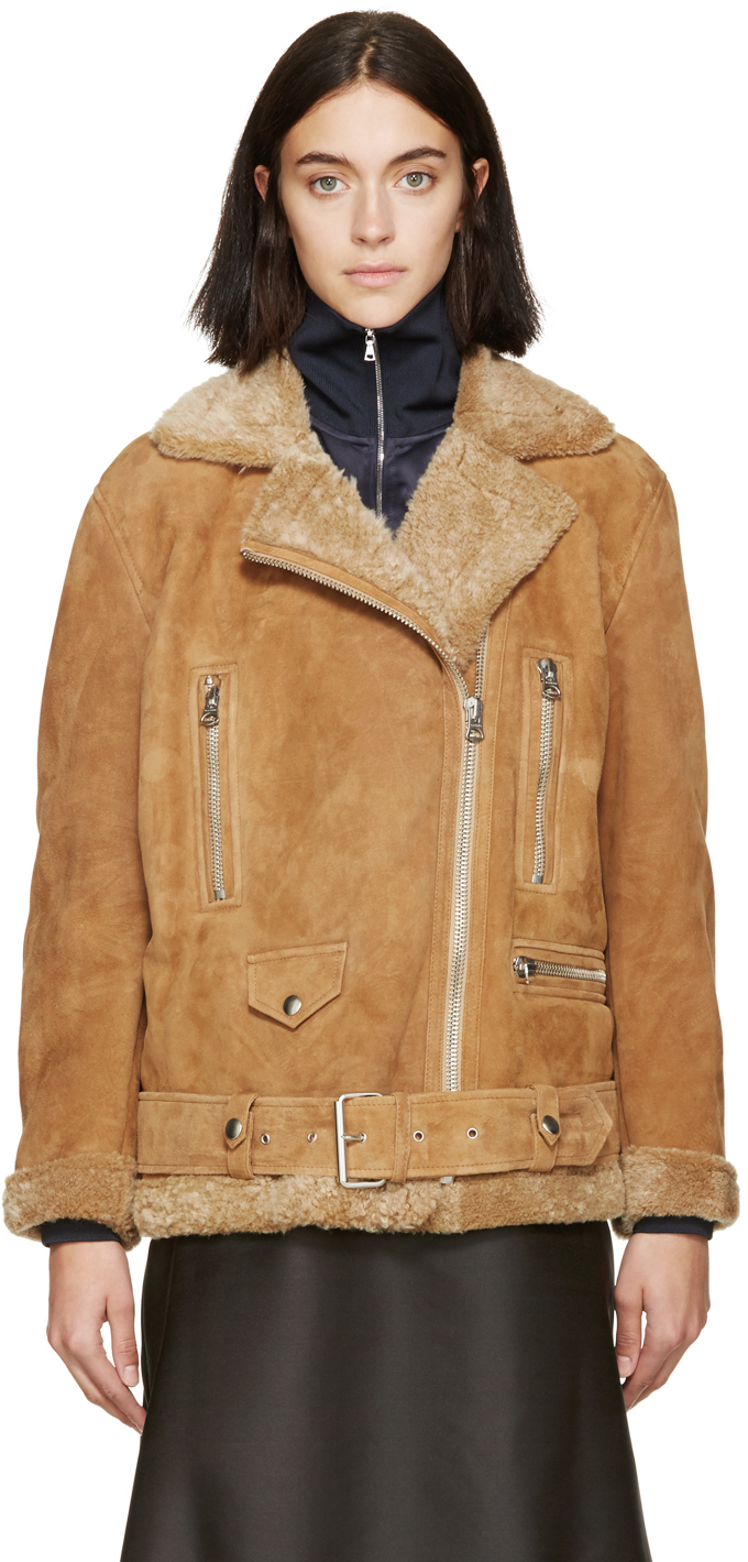 Acne studios Tan Suede & Shearling Biker Jacket in Brown | Lyst