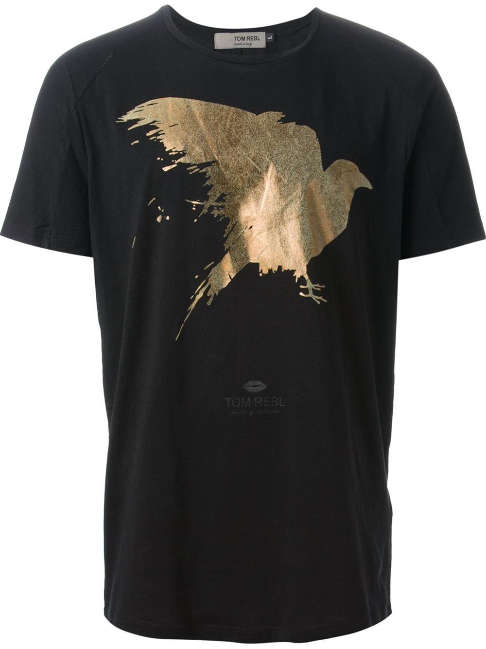 Lyst tom rebl foil bird print tshirt in black for men for Foil print t shirts custom