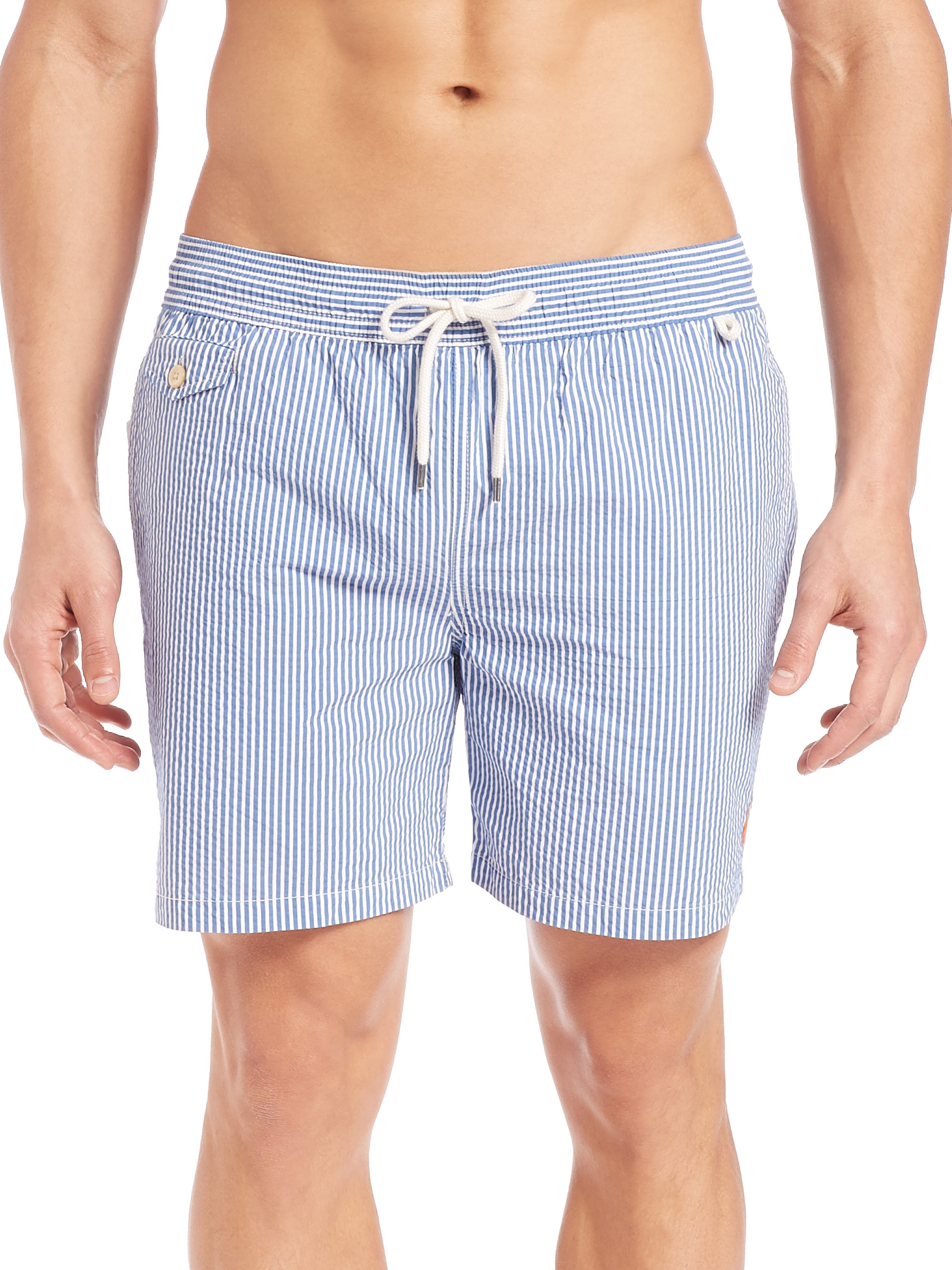 65a75eaffa Polo Ralph Lauren Seersucker Traveler Swim Shorts in Blue for Men - Lyst