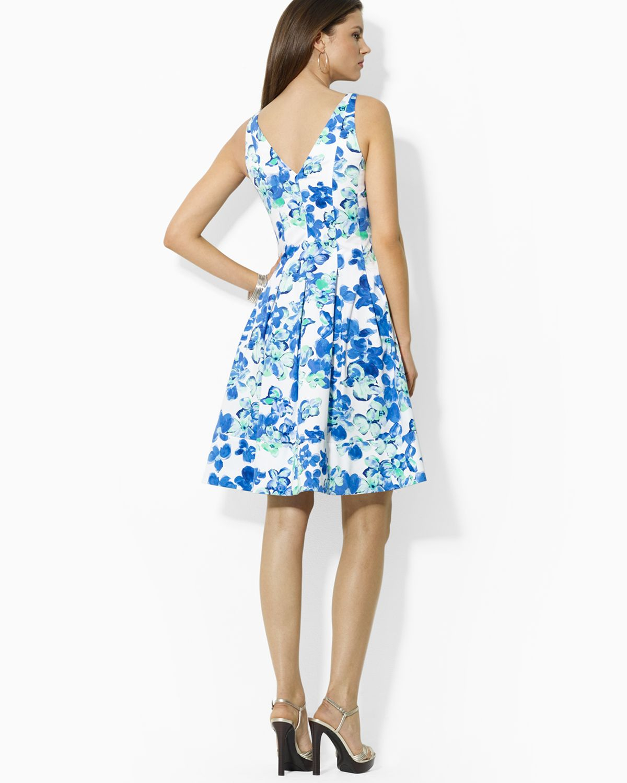 Lyst ralph lauren lauren dress refreshing floral print in blue gallery izmirmasajfo Image collections