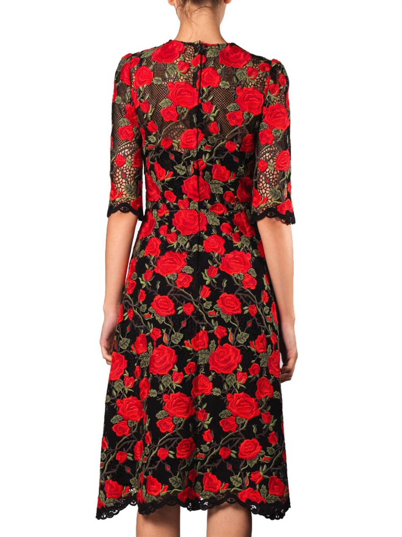 Dolce gabbana rose embroidered lace dress in red lyst