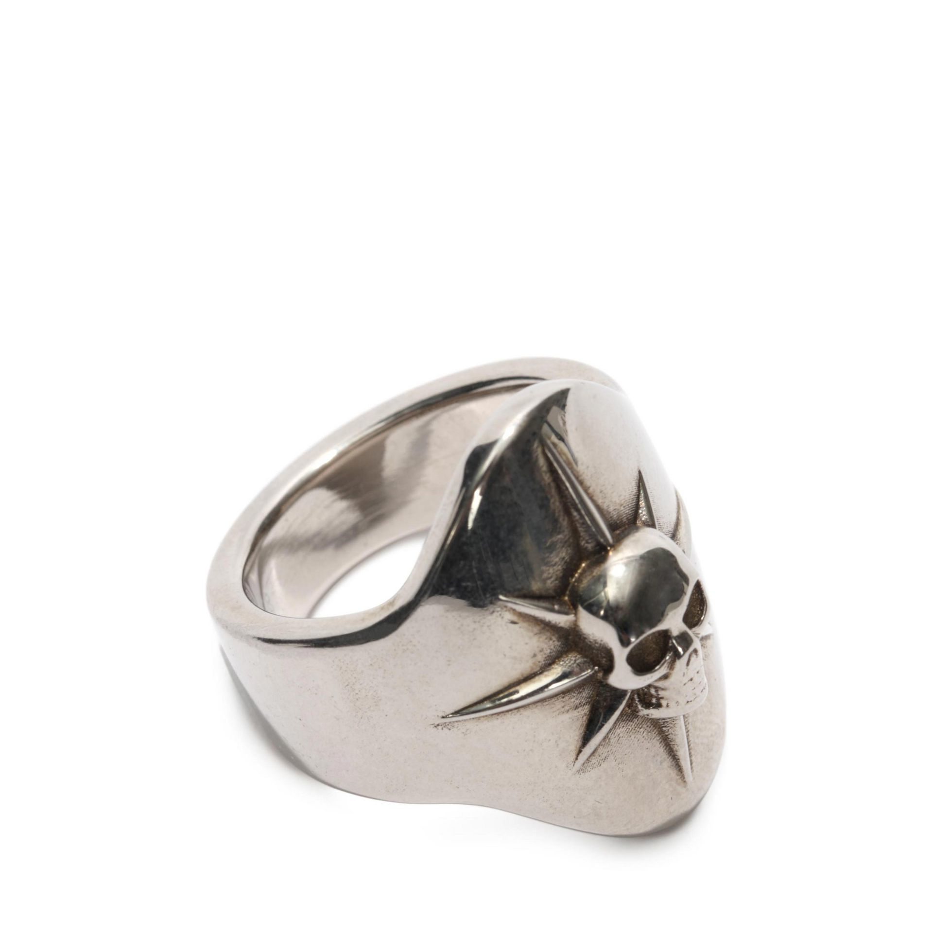 mcqueen and skull small ring in silver for