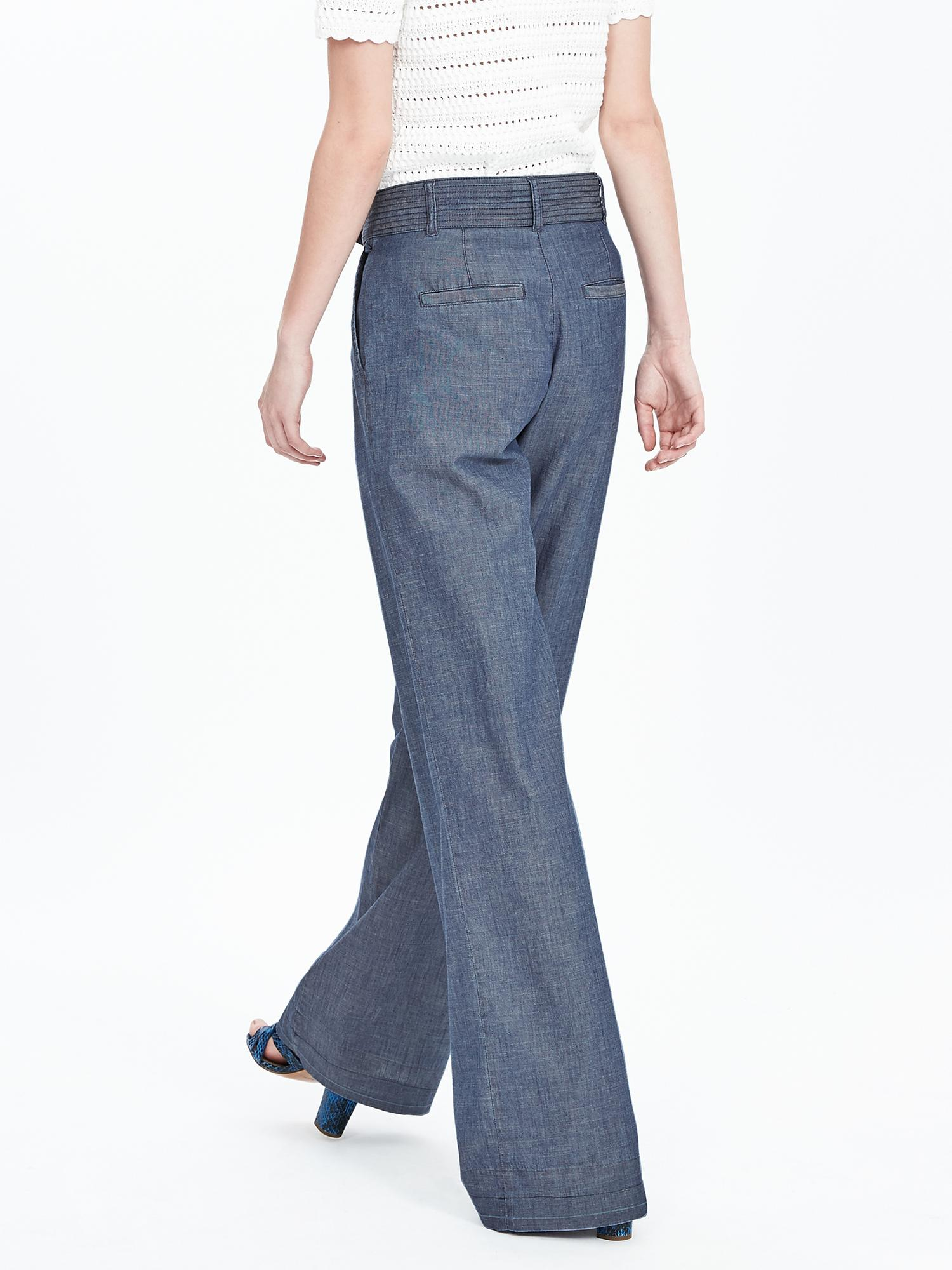 Banana Republic Chambray Belted Wide Leg Pant In Gray