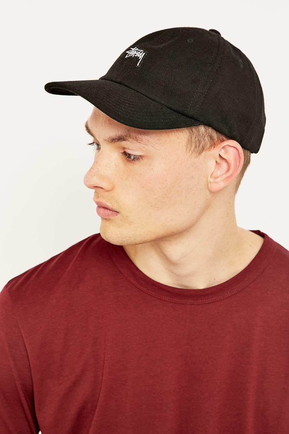 Stussy Stock Pique Black Cap in Black for Men - Lyst 03592c9463b