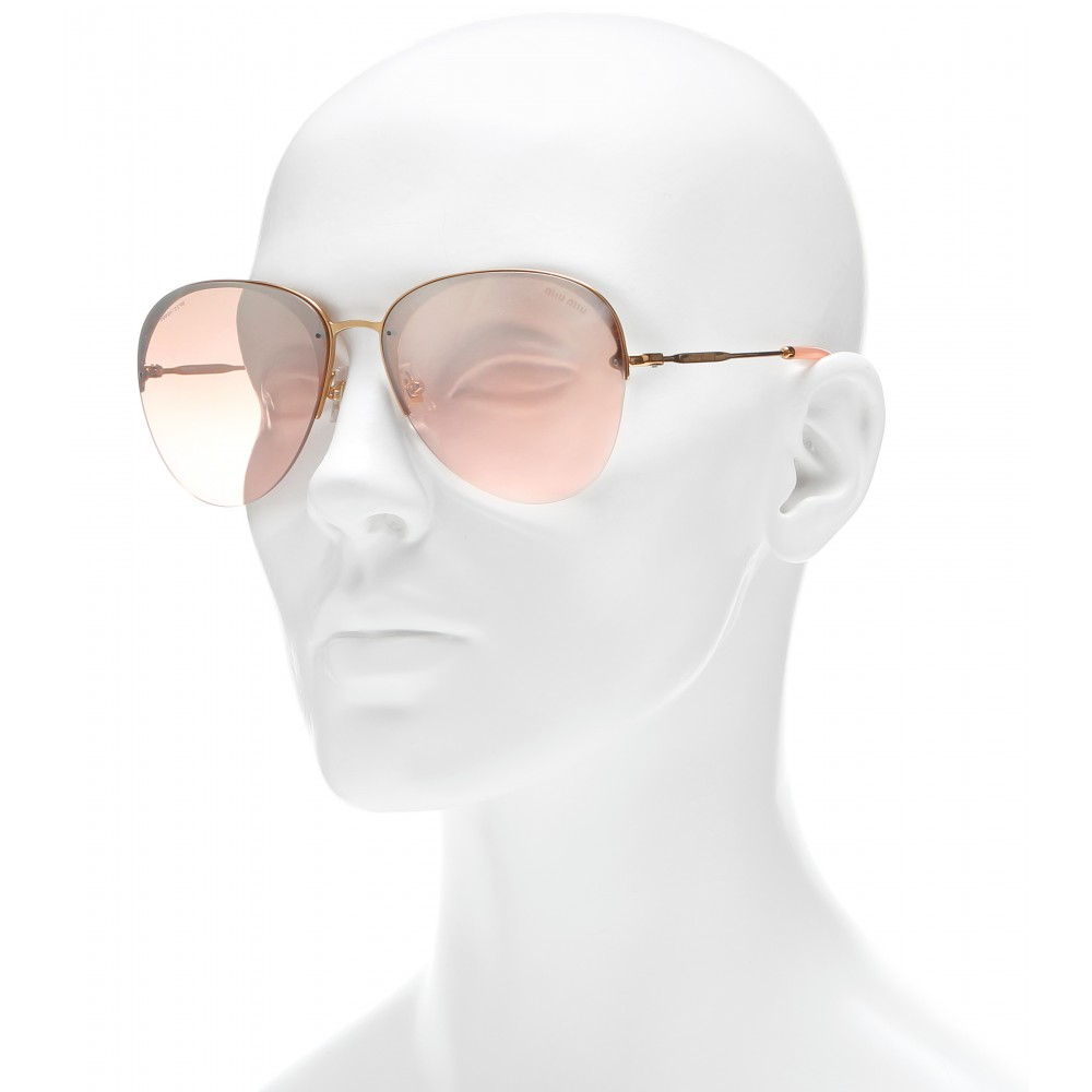 03be311a9bd8 Miu Miu Aviator Sunglasses in Pink - Lyst