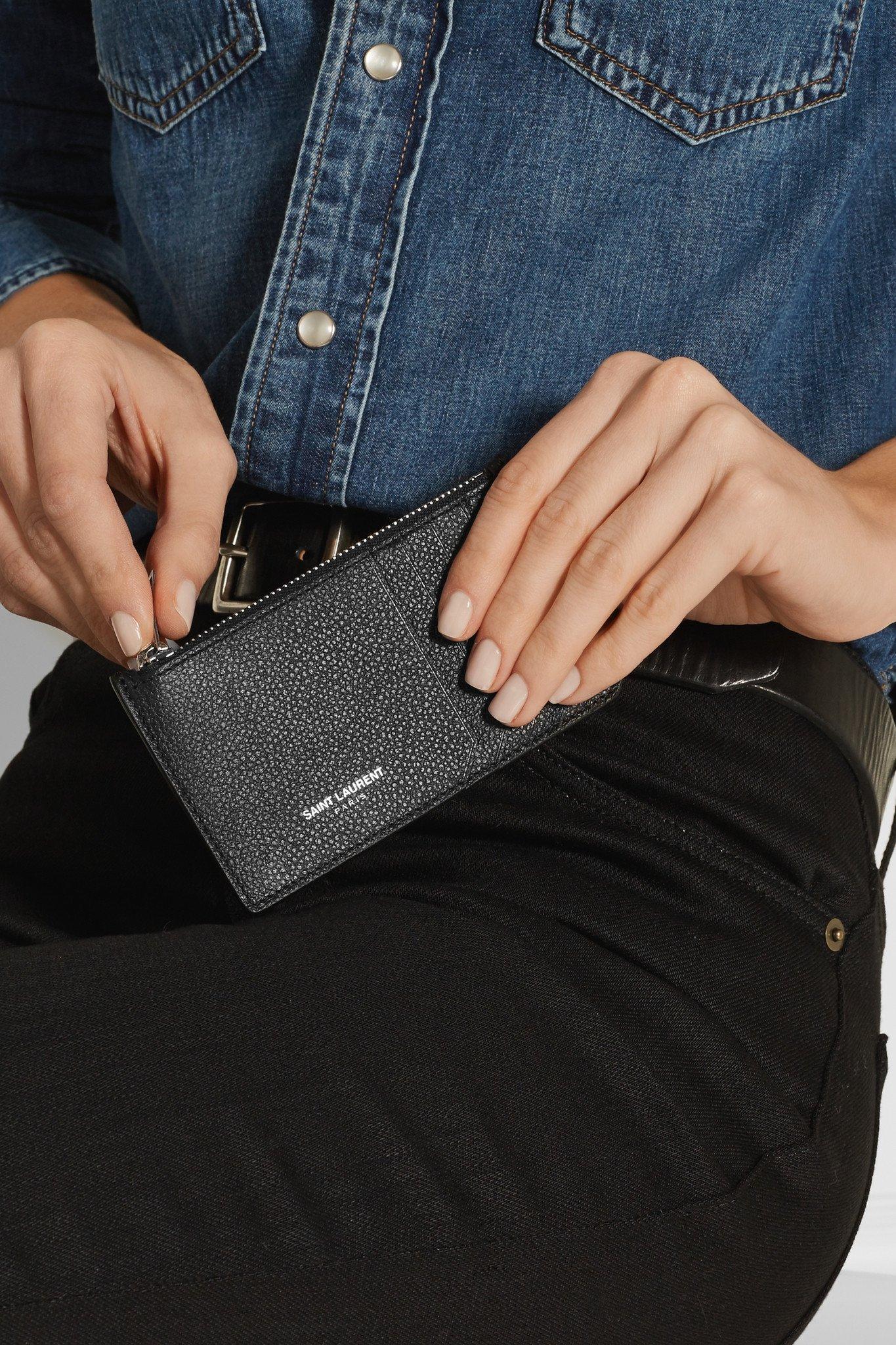 10761d61da2 Saint Laurent Textured-leather Cardholder in Black - Lyst