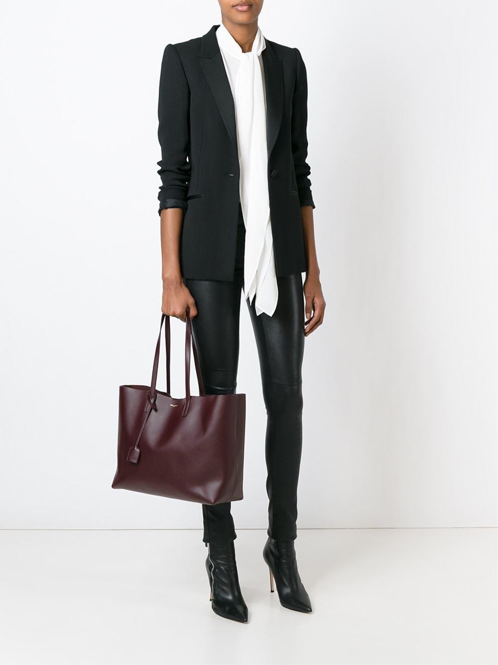 saint laurent large shopper tote in brown lyst. Black Bedroom Furniture Sets. Home Design Ideas