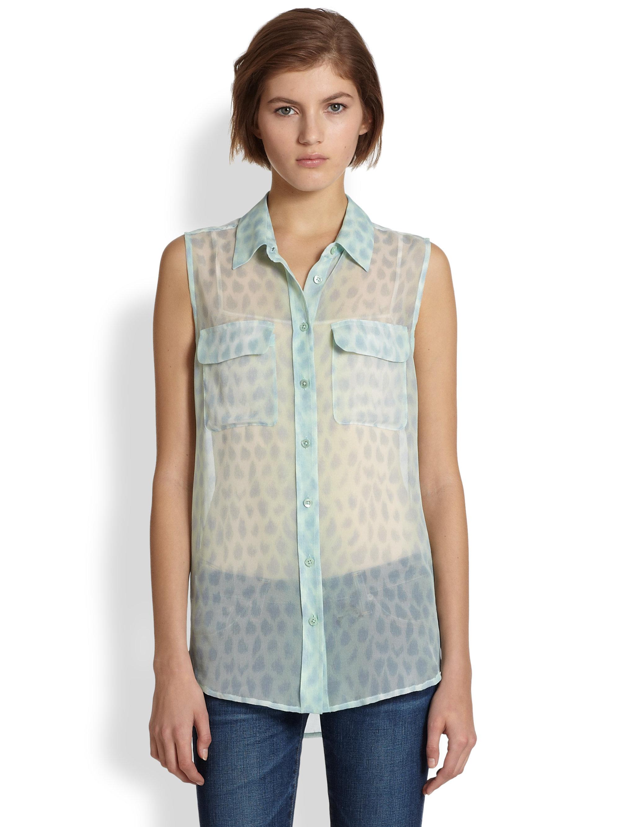346a74903070f Lyst - Equipment Slim Signature Silk Leopard-Print Sleeveless Shirt ...