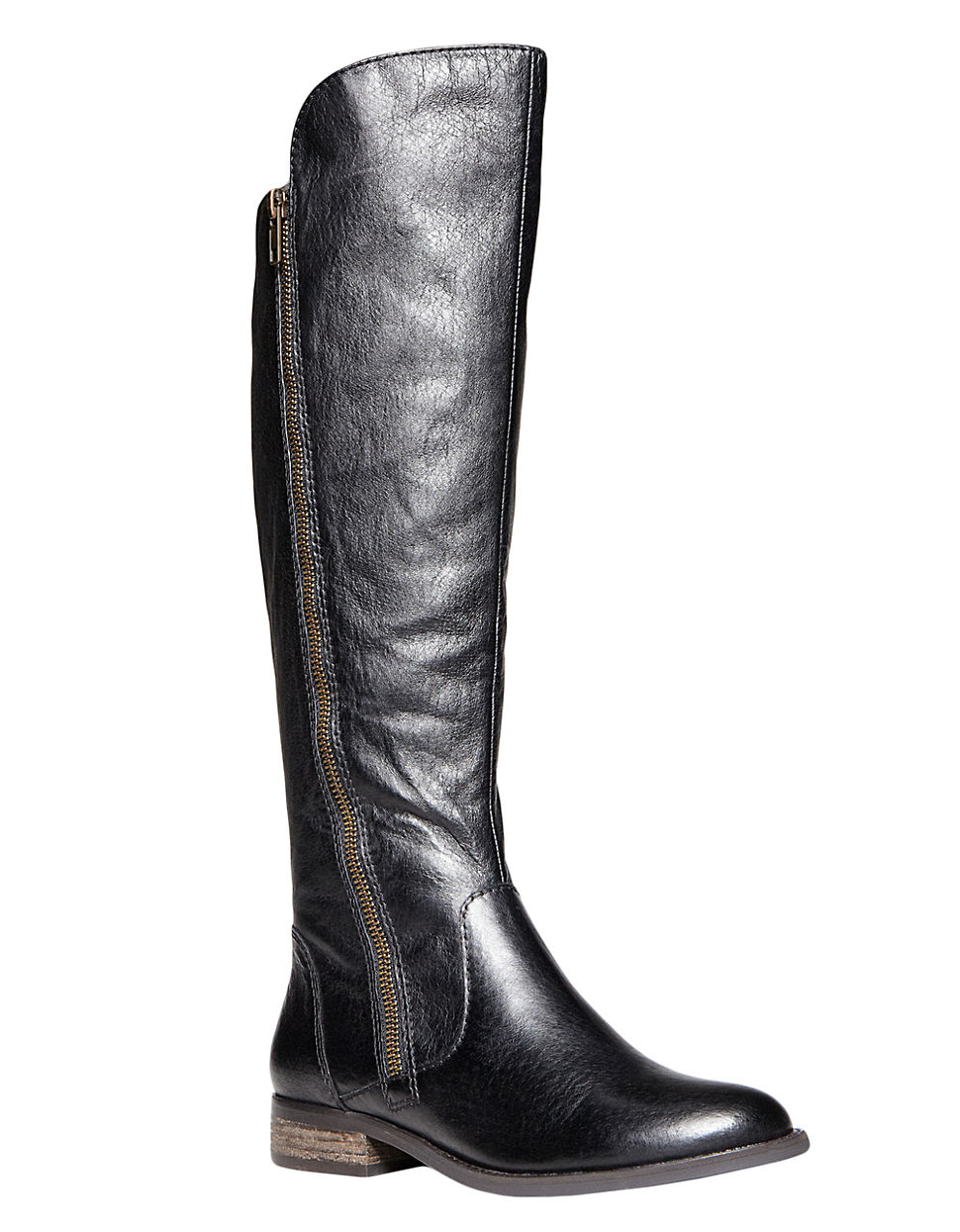 steve madden shawny tall leather boots in black lyst. Black Bedroom Furniture Sets. Home Design Ideas