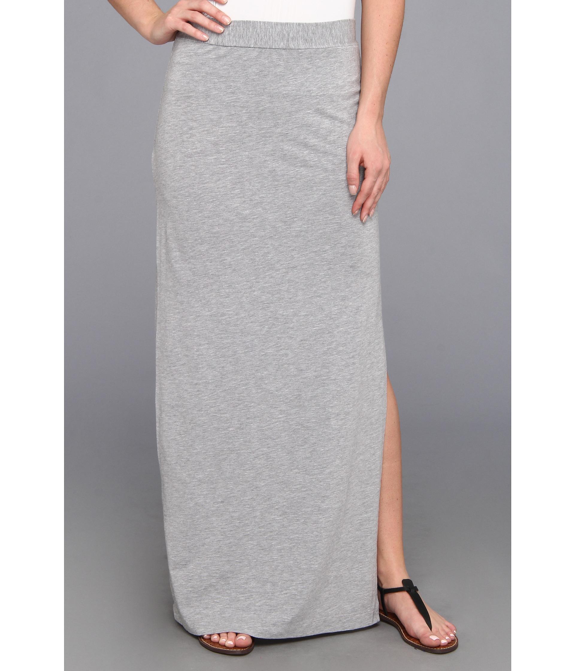 splendid column maxi skirt with side slit in gray lyst