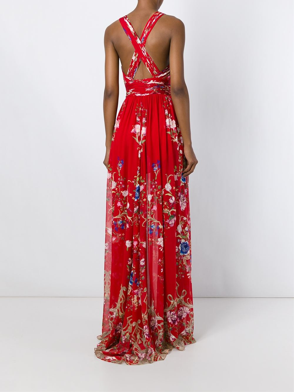 Roberto Cavalli Floral Print Long Dress In Red Lyst