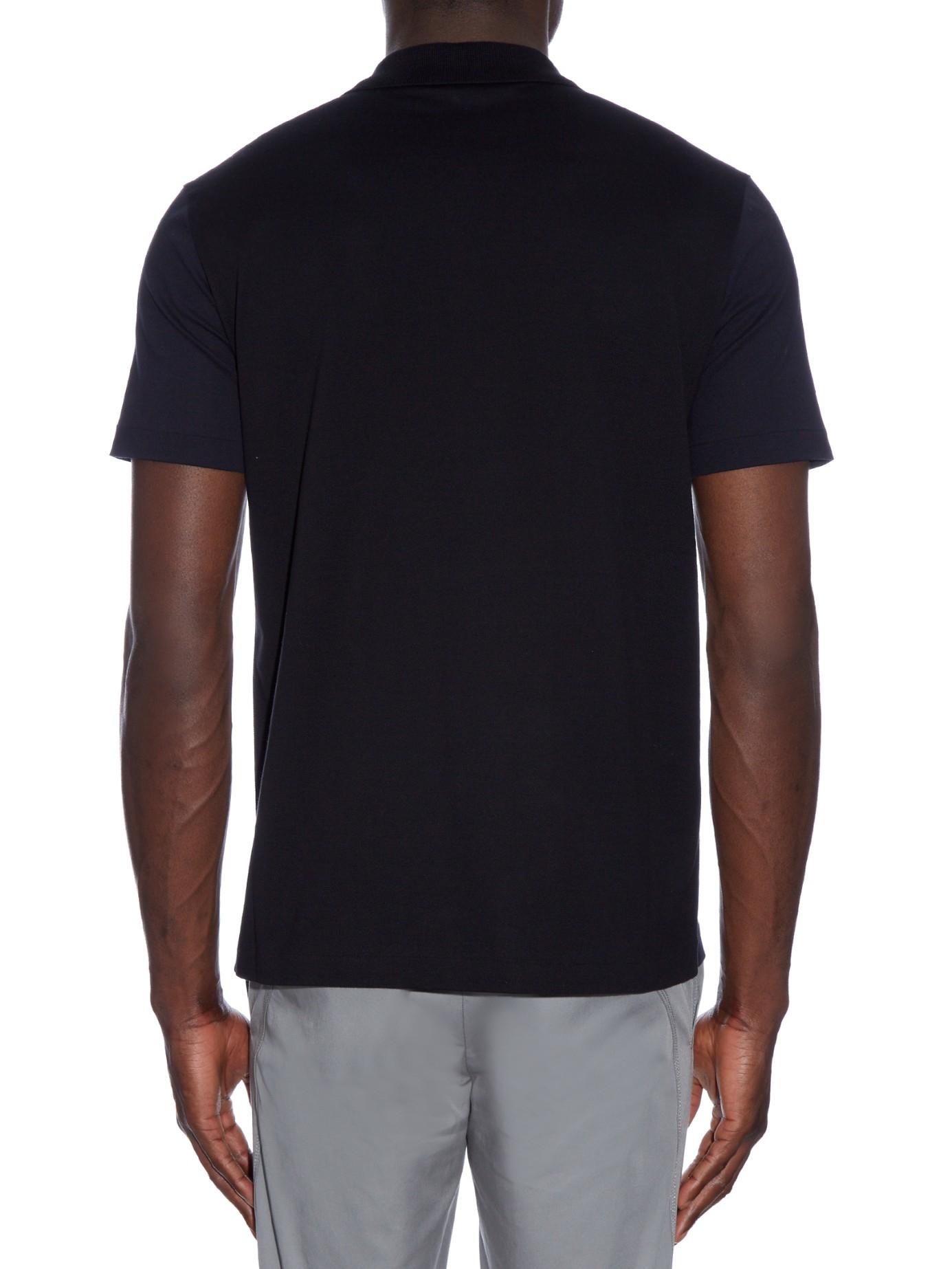 Balenciaga Bi Colour Cotton Piqu Polo Shirt In Blue For