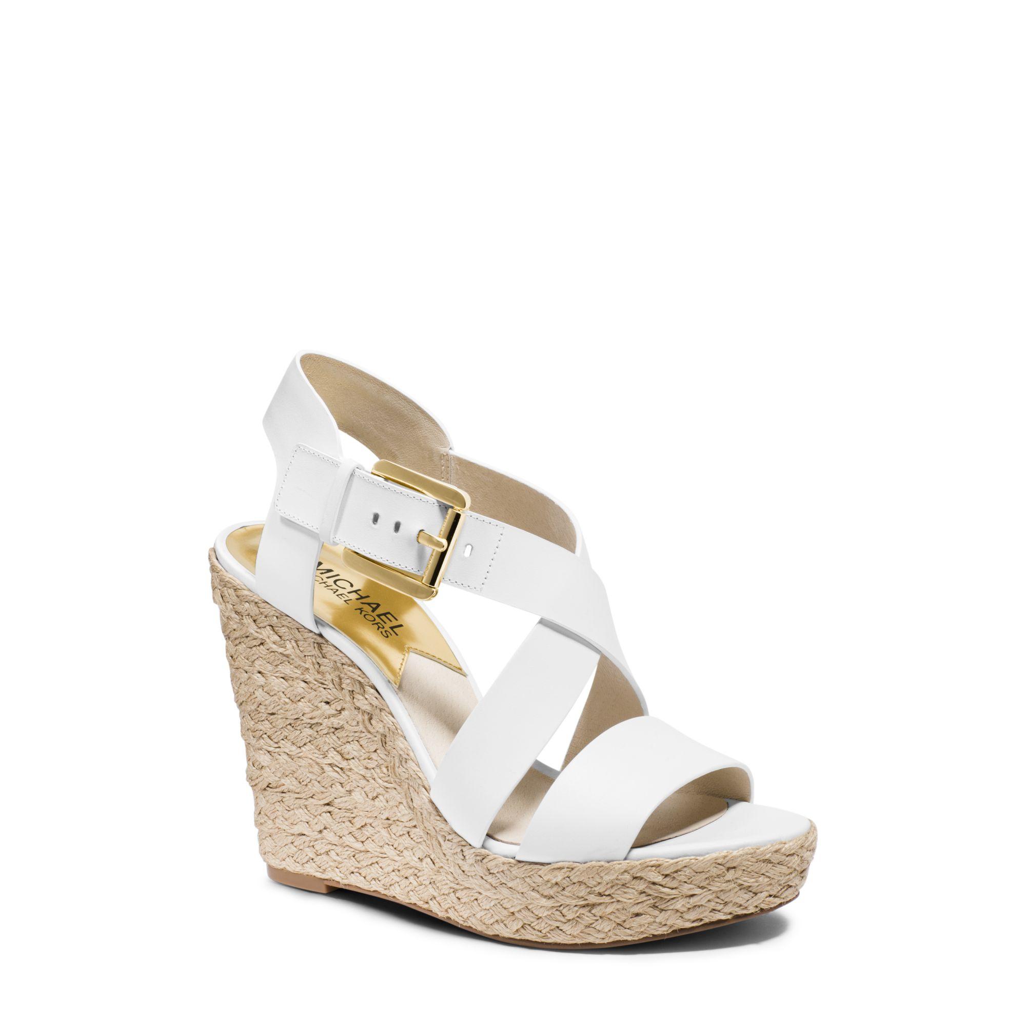 Michael Kors Giovanna Leather Espadrille Wedge Sandal In