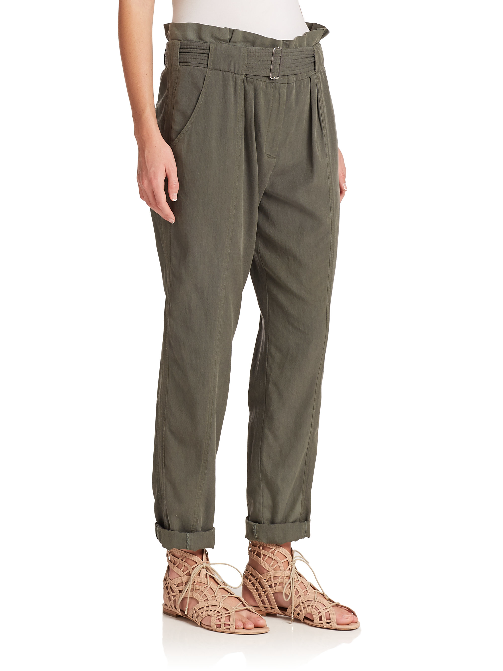 Rebecca taylor Silk & Cotton Twill Pants in Green | Lyst