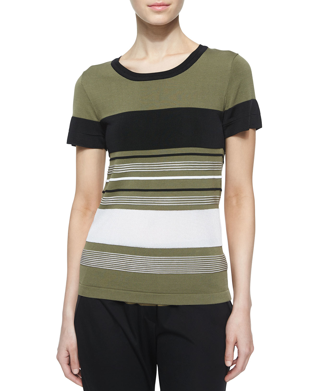Lyst ohne titel short sleeved striped t shirt in white for Black and white short sleeve shirts