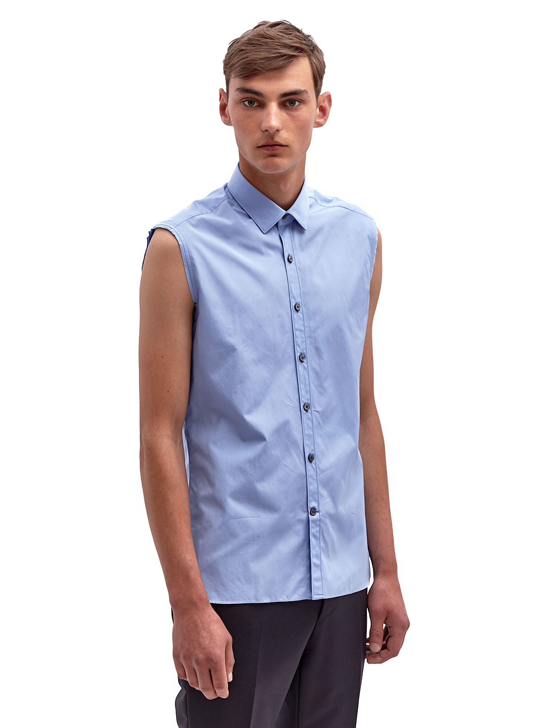 Lyst lanvin mens sleeveless shirt in blue for men for Mens jeans and dress shirt