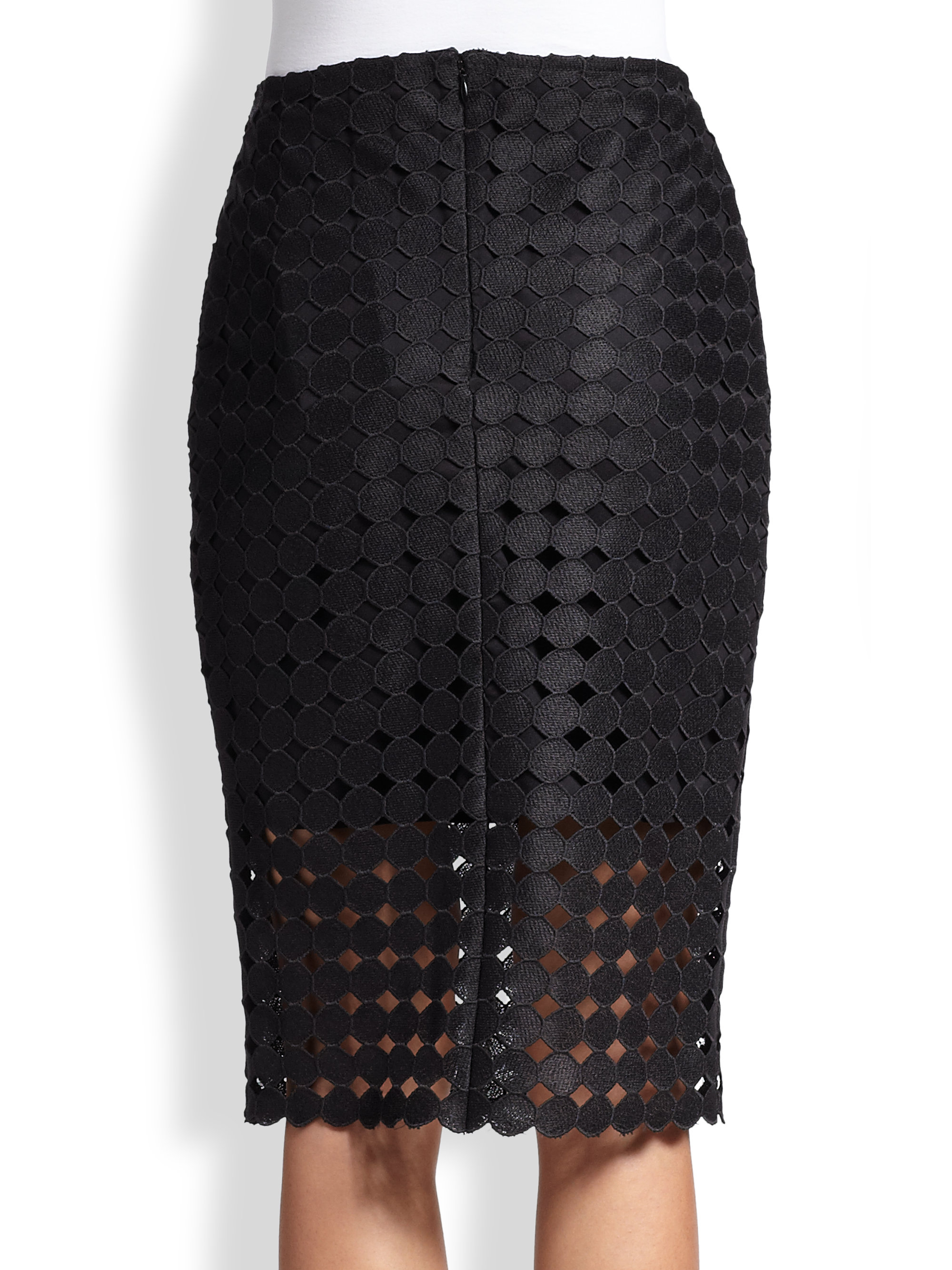 cesar cutout embroidered dot pencil skirt in black