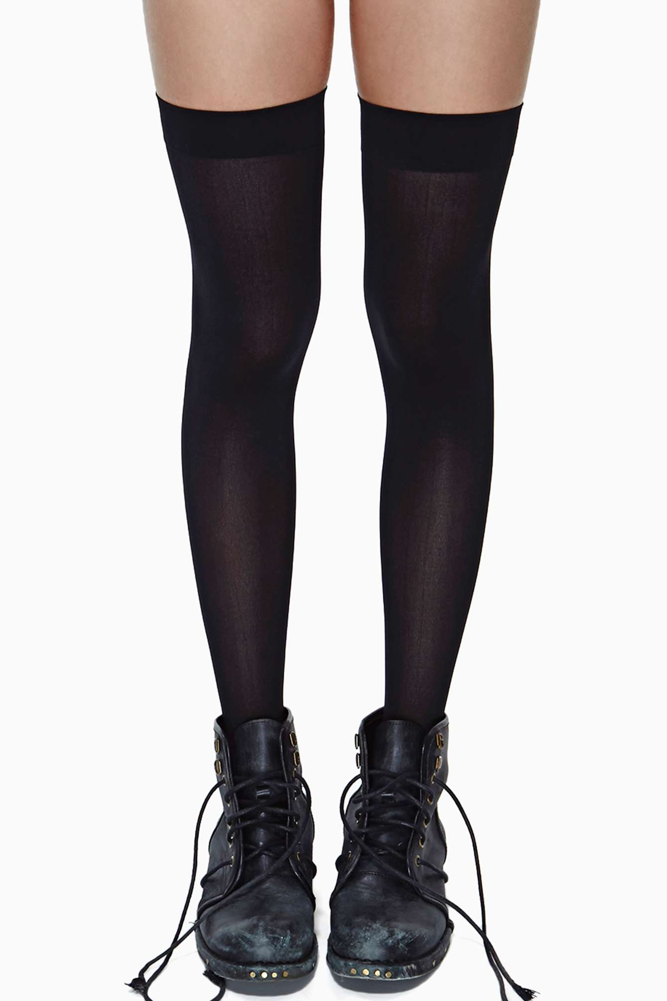 Lyst - Nasty Gal School Girl Thigh High Socks In Black-1941