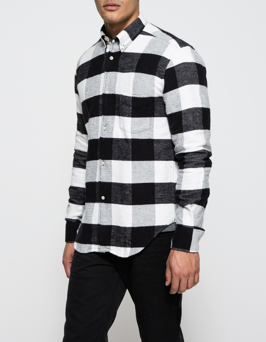 Our legacy 1950 39 s flannel shirt in black for men lyst for White flannel shirt mens
