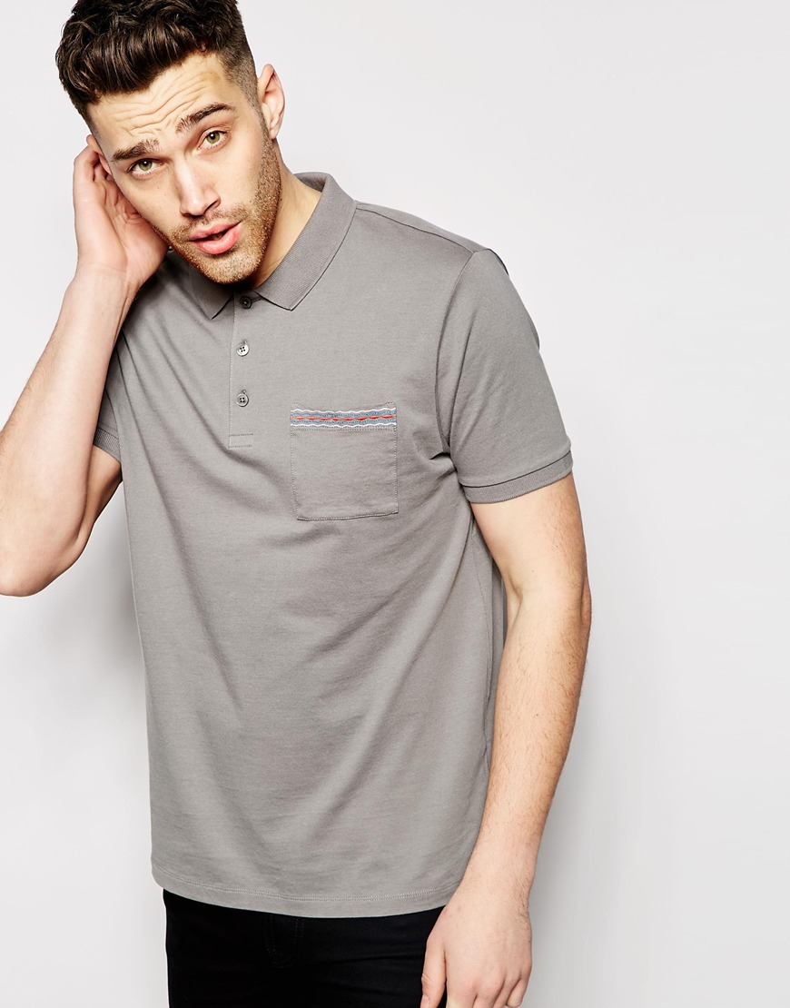 Asos Polo Shirt With Pocket Embroidery In Gray For Men Lyst