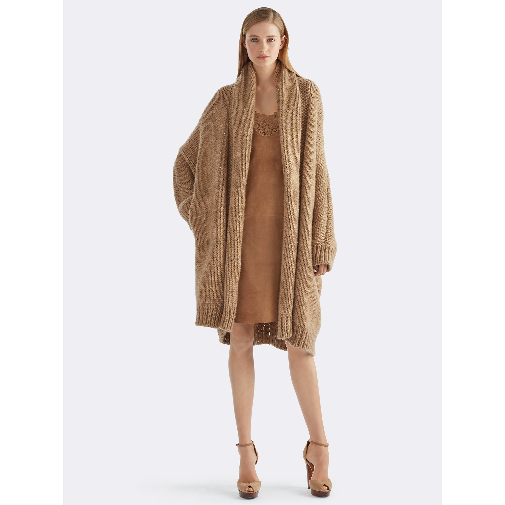 Ralph lauren Cashmere Sweater Coat in Natural | Lyst