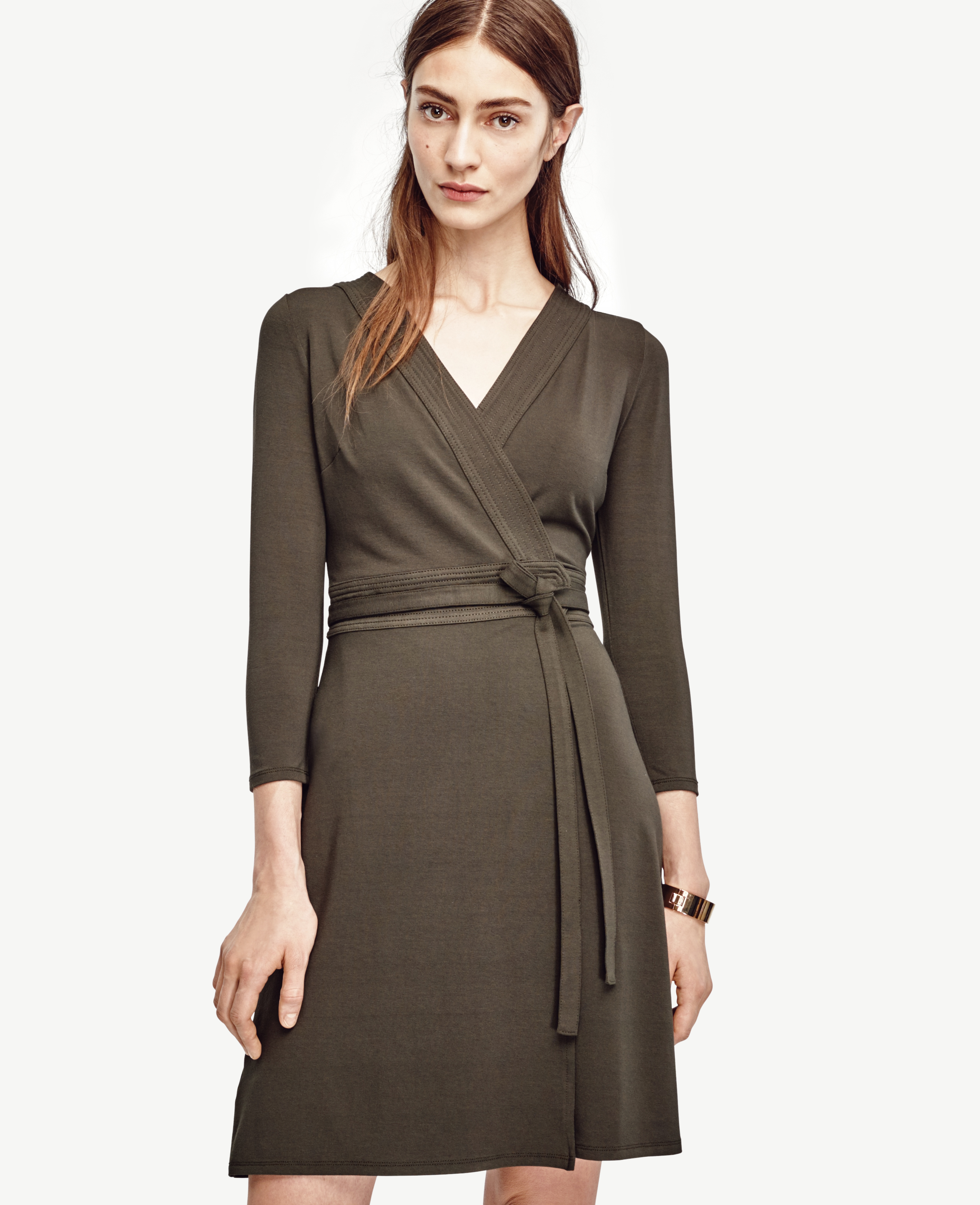 Ann taylor Petite 3/4 Sleeve Wrap Dress in Green | Lyst
