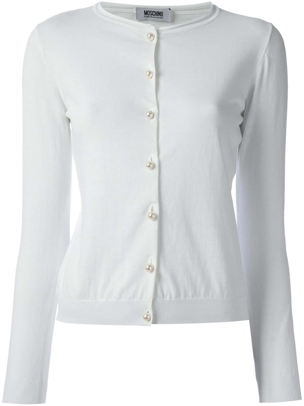 Boutique moschino Crew Neck Cardigan in White | Lyst