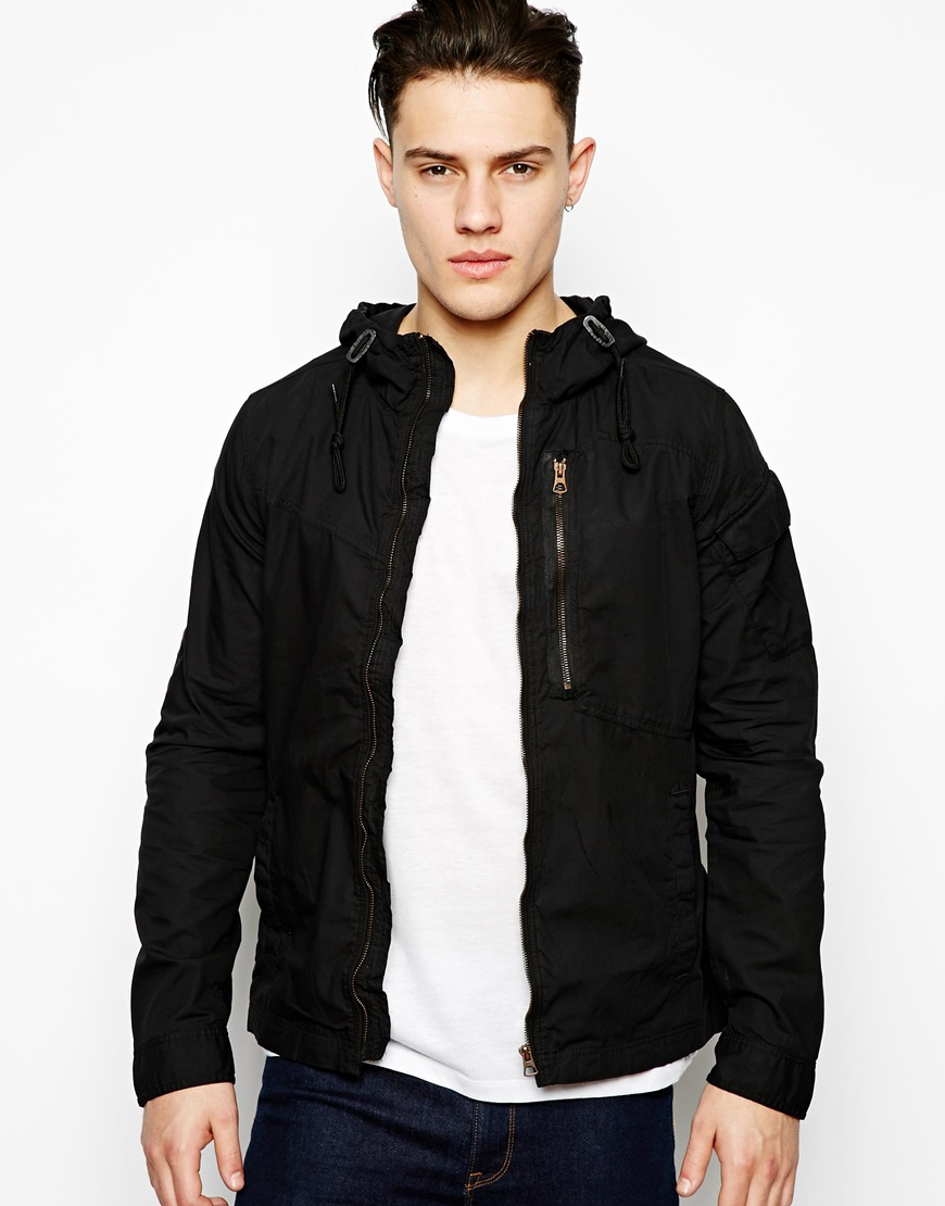 g star raw g star hooded overshirt jacket franklin in black for men lyst. Black Bedroom Furniture Sets. Home Design Ideas