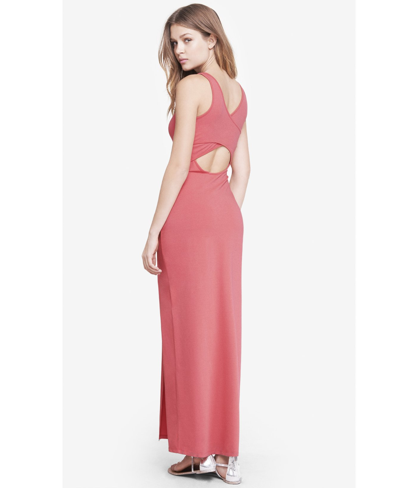 2e0c9066fb Lyst - Express Pink Crisscross Back Maxi Dress in Pink