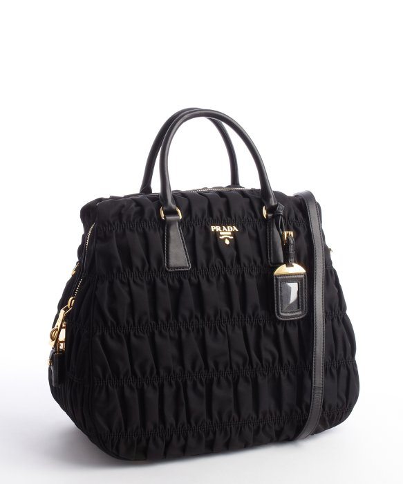 Prada Black Quilted Nylon Convertible Leather Top Handle Bag in ...
