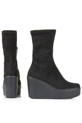 64db5fa053f Lyst - TOPSHOP Hero Stretch Wedge Boots in Black