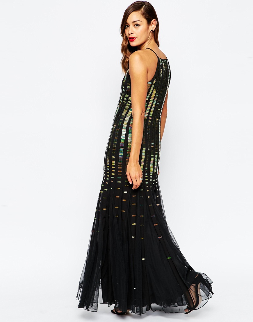 Lyst Asos Holographic Strip Fit And Flare Maxi Dress