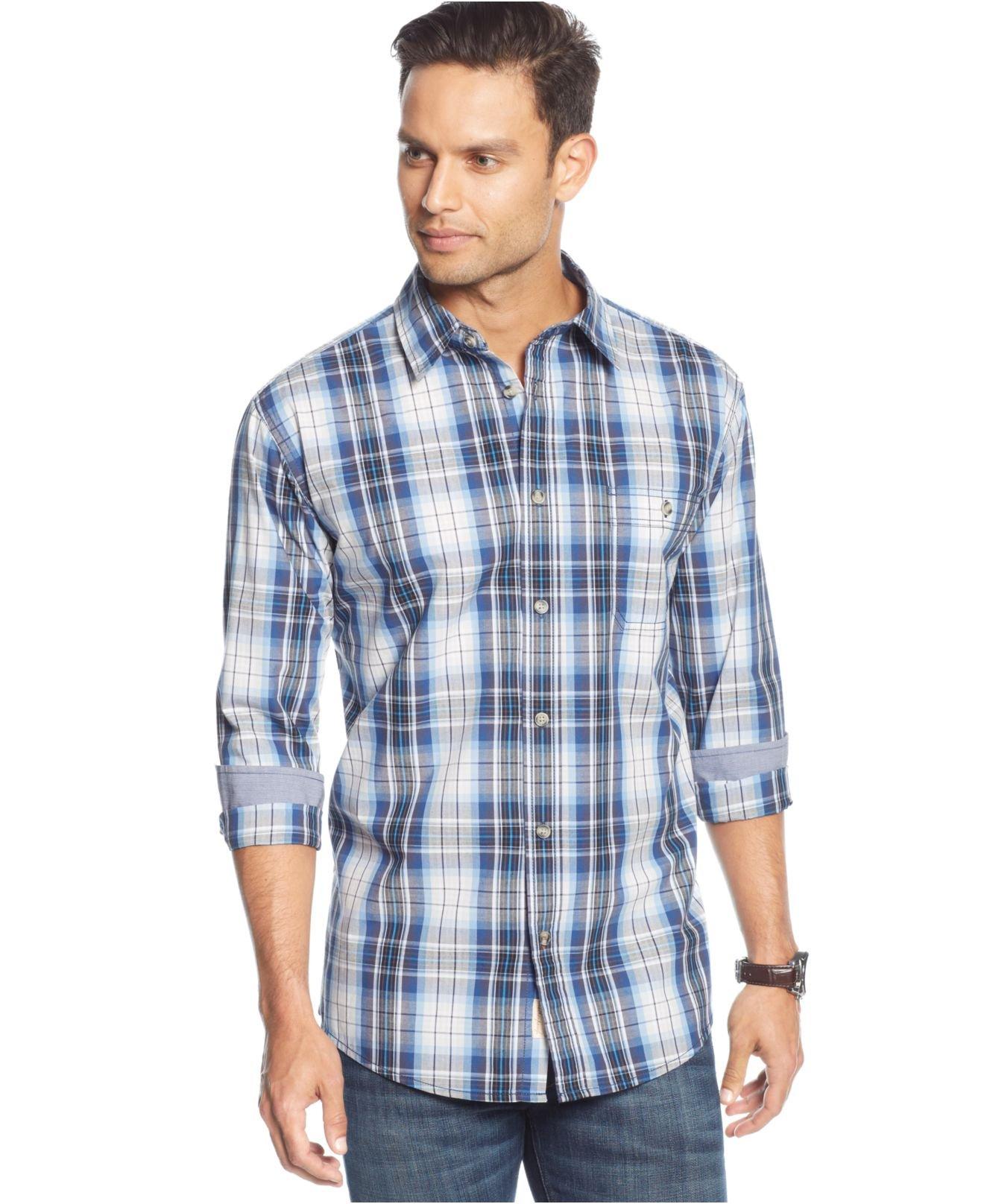 Weatherproof vintage poplin grid plaid shirt in blue for for Weatherproof vintage men s lightweight flannel shirt