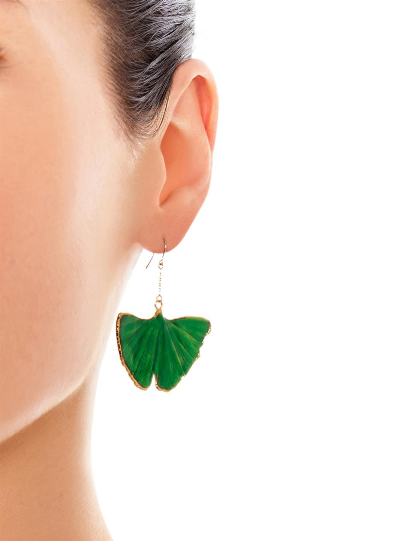 Bidermann Multicolor Ginkgo Lacquered Yellow Gold Earrings Lyst