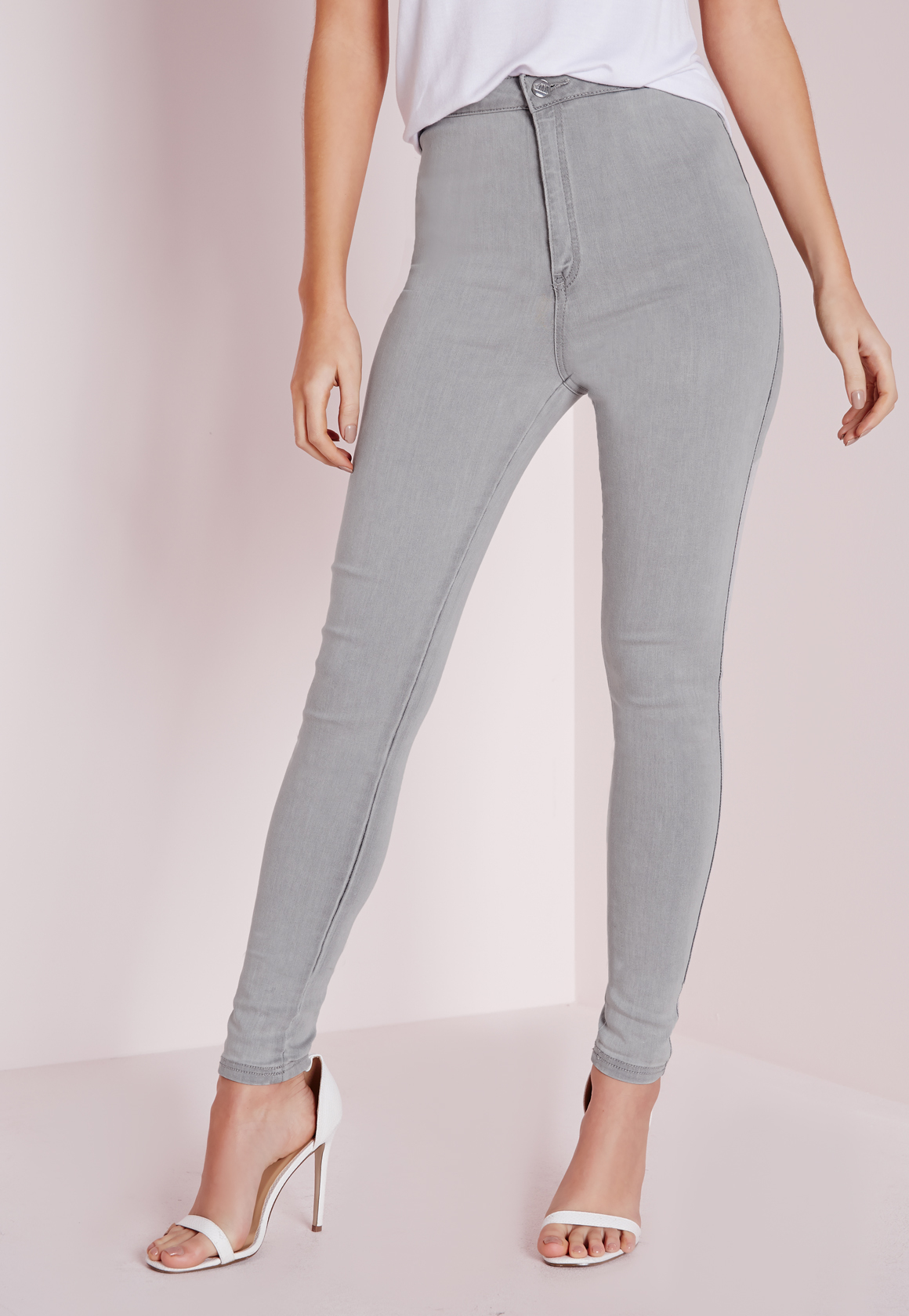 Jeans Light Stretch Skinny Waisted High Grey Vice Missguided Super zxZpTT