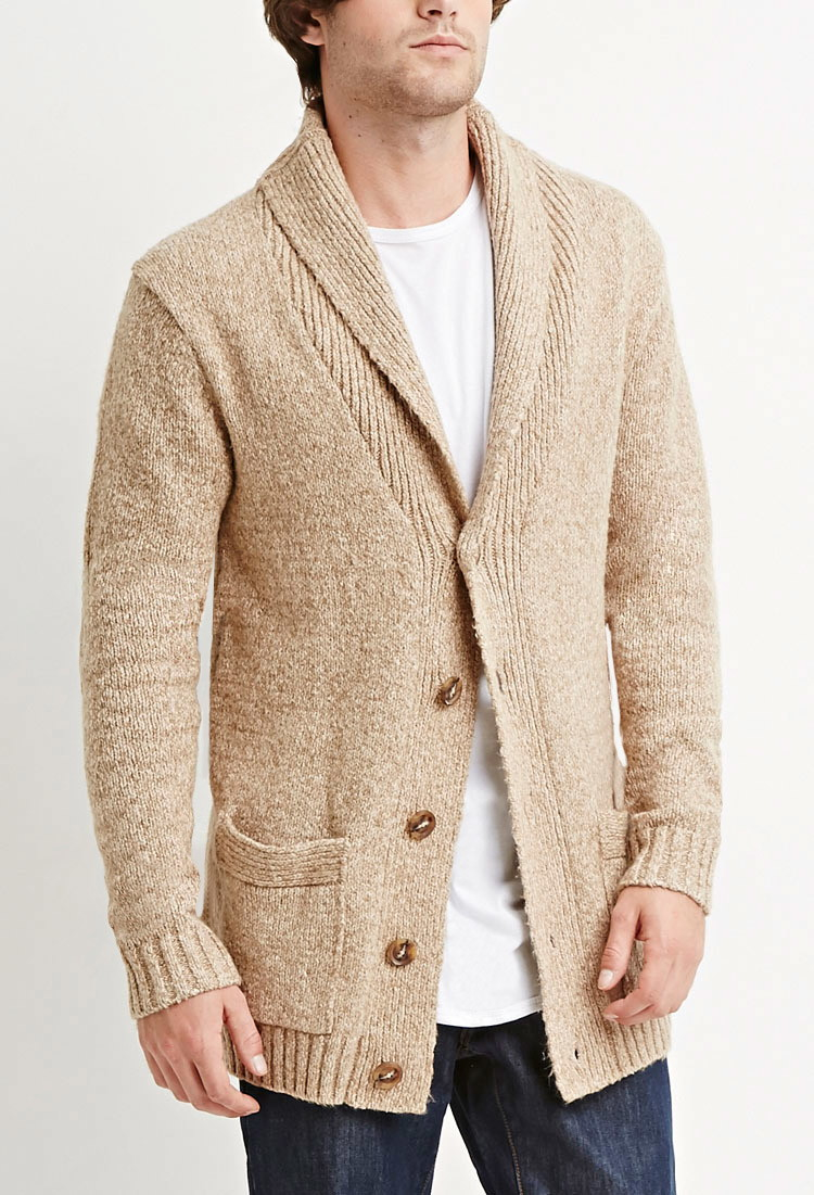 Forever 21 Marled Shawl Collar Cardigan in Brown for Men | Lyst