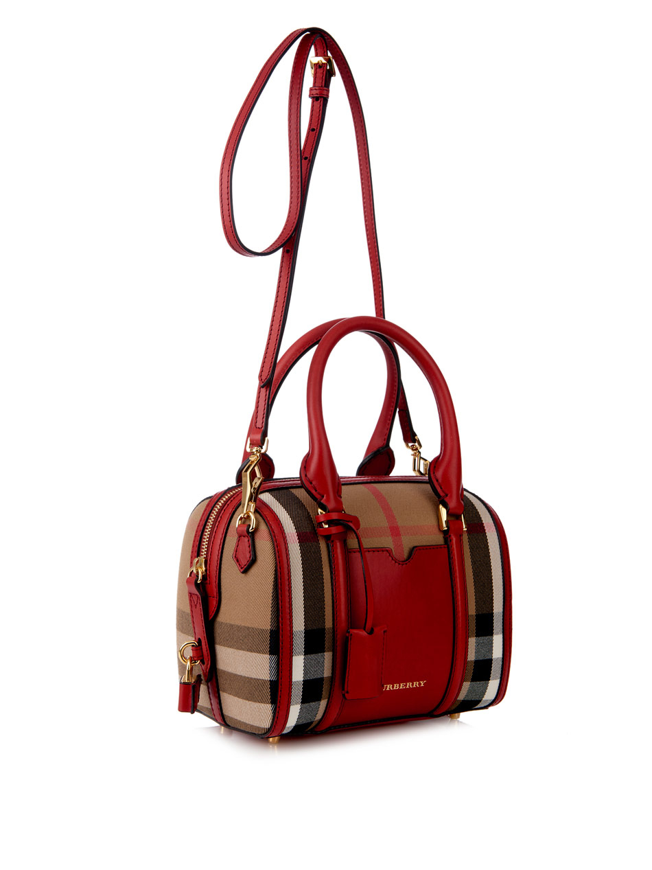 burberry alchester mini checked bowling bag in lyst