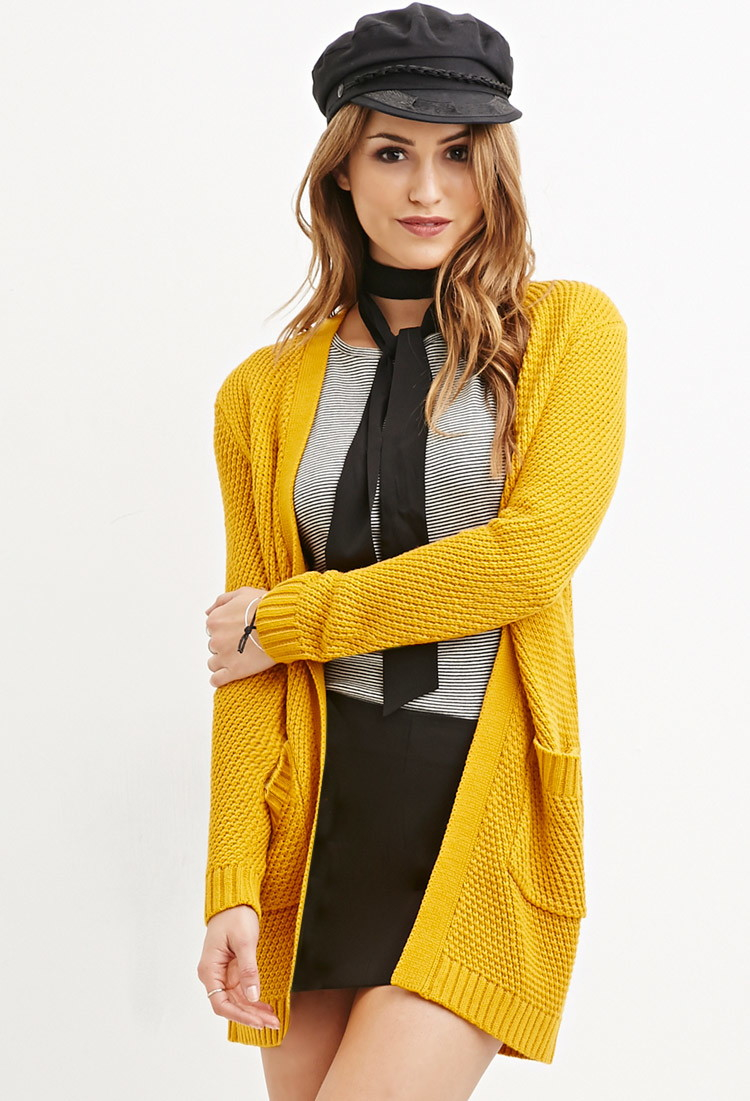 Lyst Forever 21 Waffle Knit Cardigan In Yellow