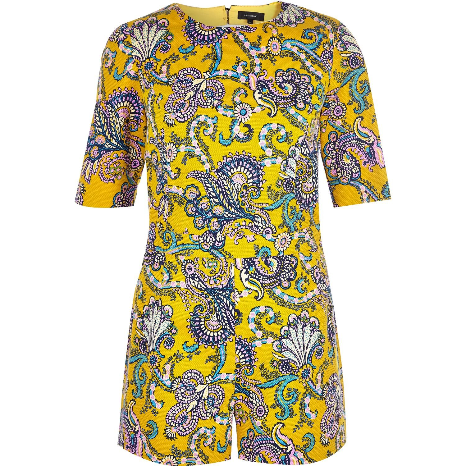 e767c0732eb River Island Yellow Paisley Print Playsuit in Yellow - Lyst