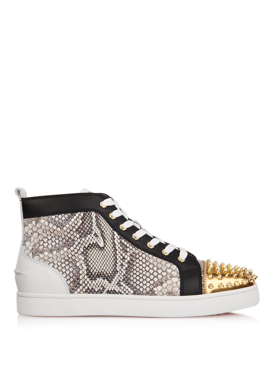 d3cdeb27c78b Lyst - Christian Louboutin Lou Python and Leather High-Top Sneakers ...