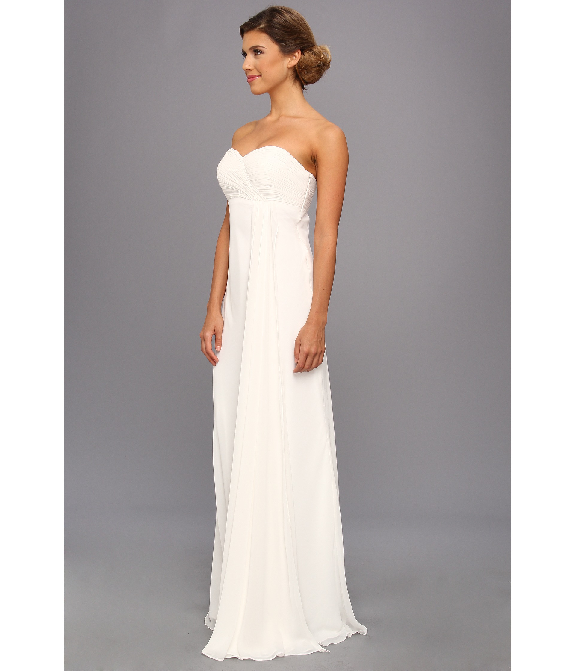 Faviana Strapless Ruched Chiffon Gown 7339 in White | Lyst
