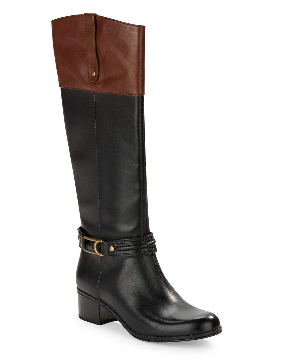 bandolino coloradee leather boots in black lyst