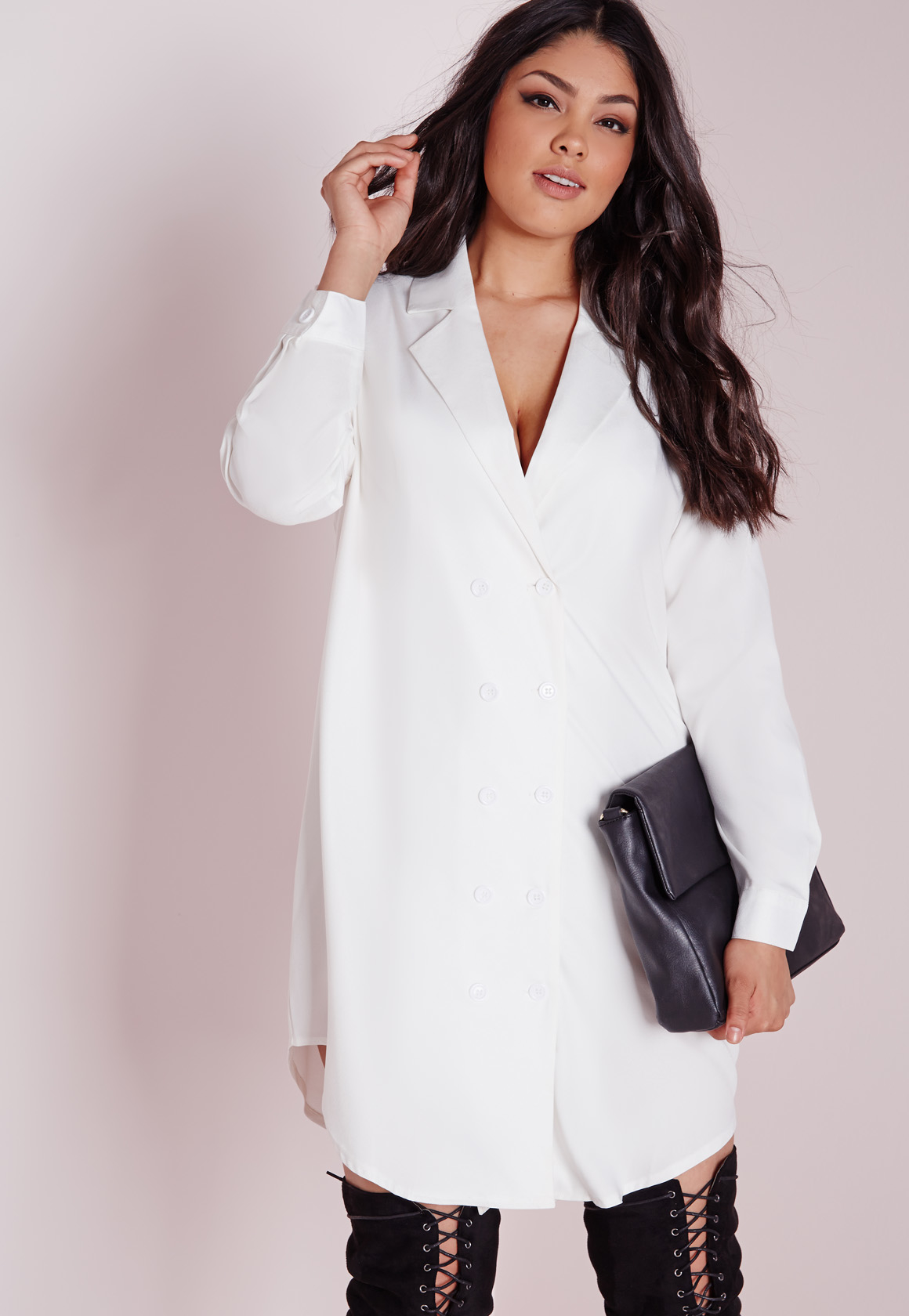 fb09d6c3958 Missguided Plus Size Tuxedo Shirt Dress White in White - Lyst