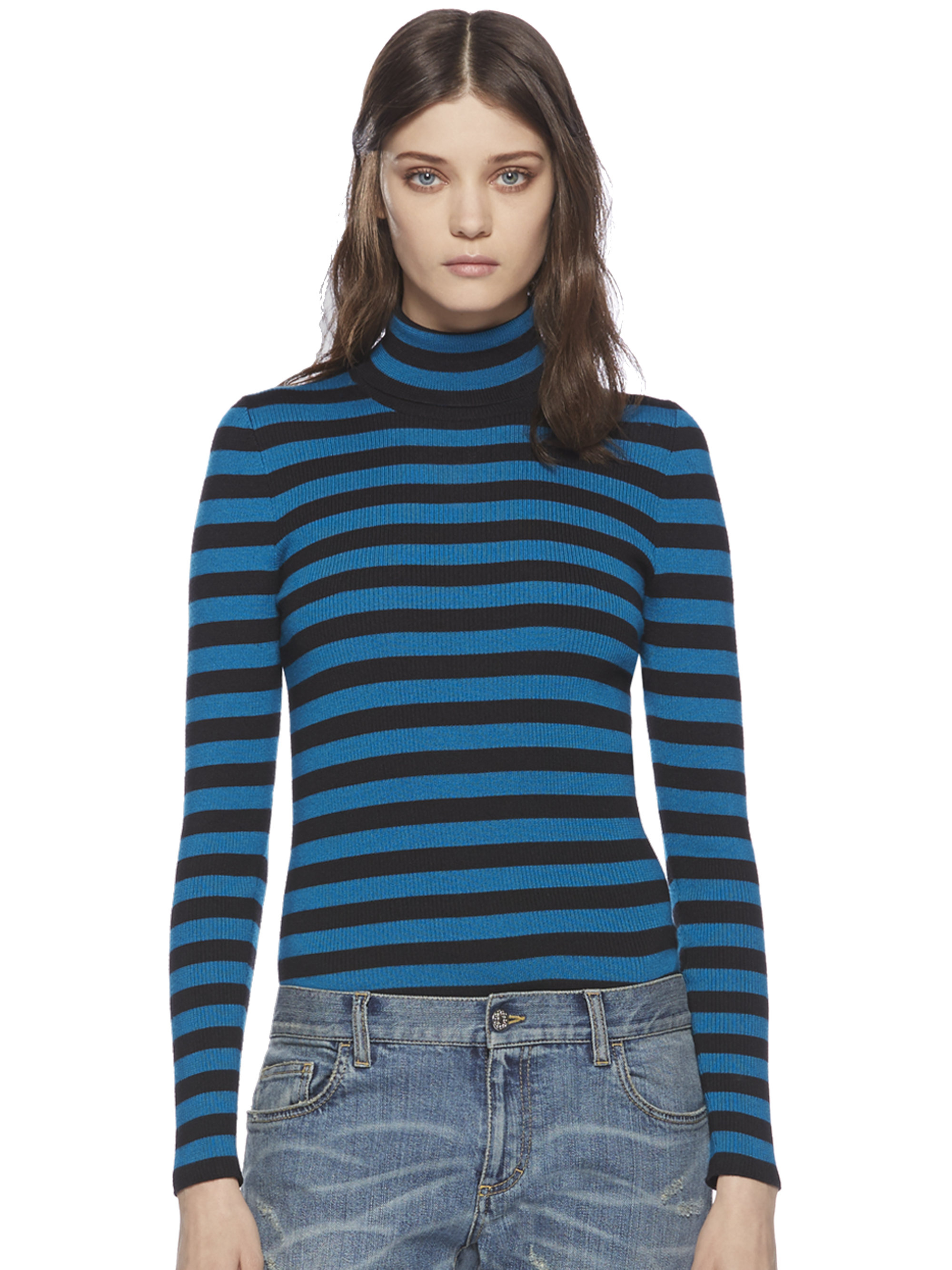 Gucci Striped Silk & Cashmere Turtleneck Sweater in Blue | Lyst