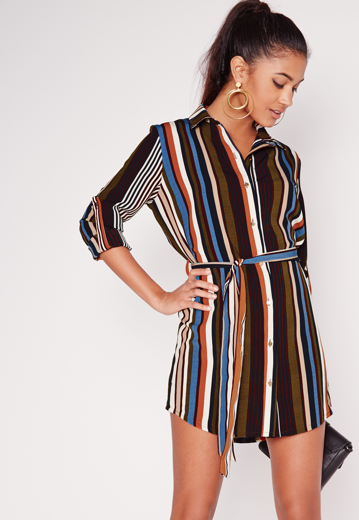 Lyst missguided long sleeve tie waist stripe shirt dress for Black and white striped long sleeve shirt women