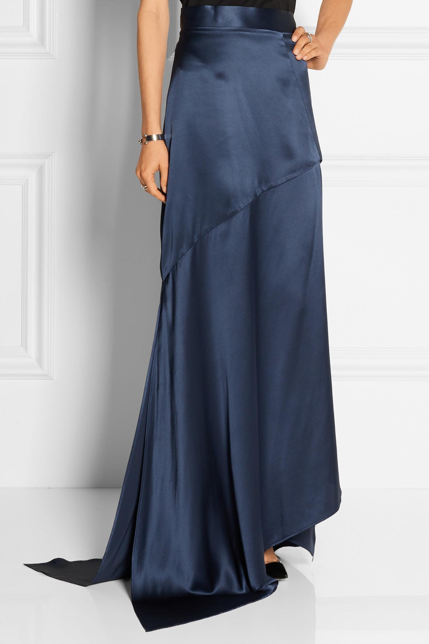 michael lo sordo split silk satin maxi skirt in blue