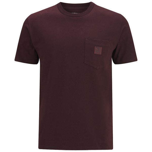 Carhartt men 39 s ss state pocket t shirt in purple for men for Carhartt burgundy t shirt