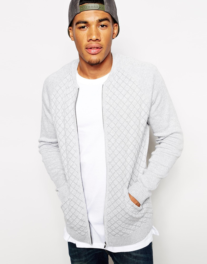 Asos Quilted Bomber Jacket in Gray for Men | Lyst