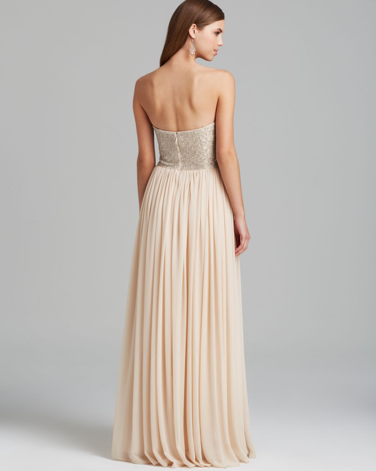 Beaded Bodice Chiffon Gown